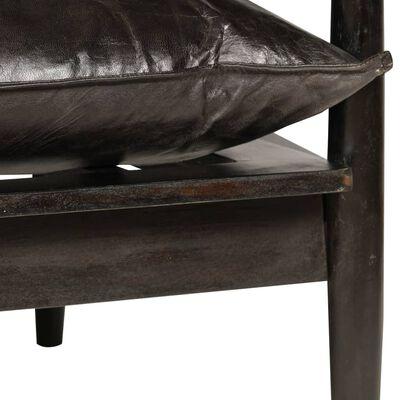 vidaXL Sofá de 2 plazas de cuero auténtico con madera de acacia negro