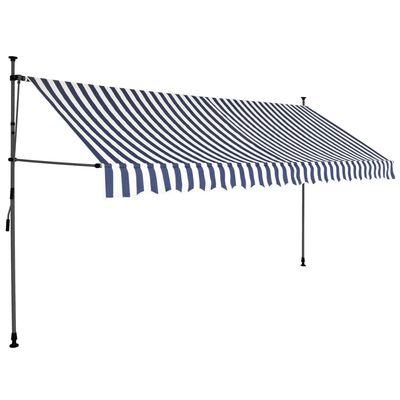 vidaXL Toldo manual retráctil con LED azul y blanco 350 cm