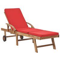 vidaXL Tumbona con cojín madera maciza de teca rojo