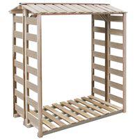 vidaXL Caseta para leña madera de pino impregnada 150x90x176 cm