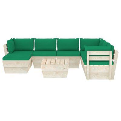 vidaXL Muebles de jardín de palets 8 piezas y cojines madera de abeto