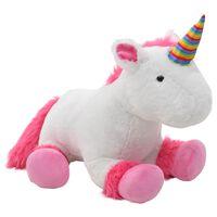 vidaXL Unicornio de peluche rosa y blanco