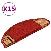 vidaXL Alfombrilla autoadhesiva de escalera 15 uds roja 65x21x4 cm