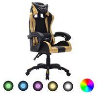 vidaXL Silla gaming con luces LED RGB cuero sintético dorado y negro