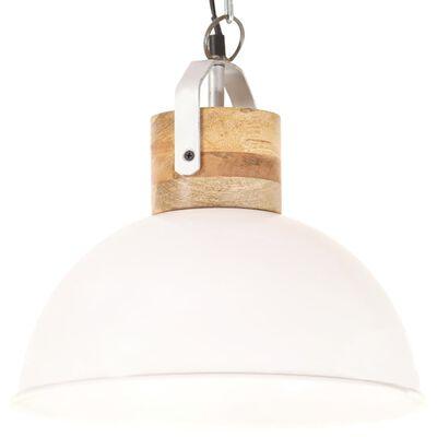 vidaXL Lámpara colgante industrial redonda mango blanca 32 cm E27