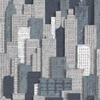 Urban Friends & Coffee Papel pintado edificios gris y azul