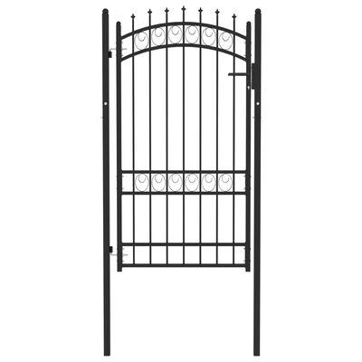 vidaXL Puerta de valla con picos acero negro 100x175 cm