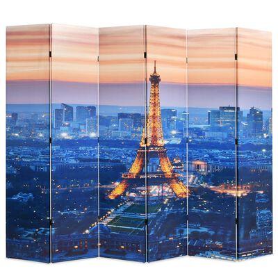vidaXL Biombo divisor plegable 228x170 cm París de noche