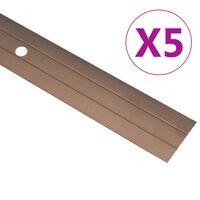 vidaXL Perfiles de suelo 5 unidades aluminio marrón 90 cm