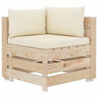 vidaXL Sofá de esquina de palés de jardín madera y cojines color crema