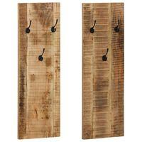 vidaXL Percheros 2 unidades madera maciza mango 36x110x3 cm