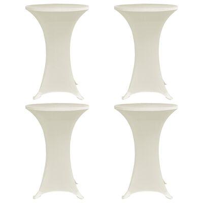 vidaXL Mantel elástico para mesa alta 4 unidades color crema Ø60 cm