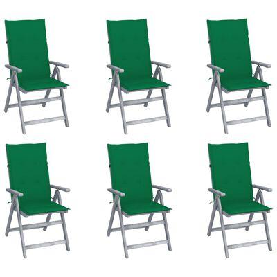vidaXL Sillas de jardín reclinables 6 uds madera maciza acacia cojines