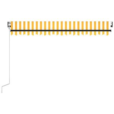 vidaXL Toldo automático LED sensor de viento amarillo blanco 450x300cm