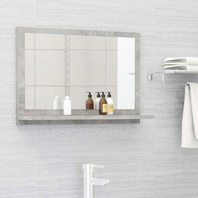 vidaXL Espejo de baño aglomerado gris hormigón 60x10,5x37 cm