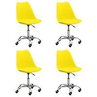 vidaXL Sillas de comedor 4 unidades cuero sintético amarillo