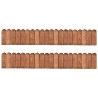 vidaXL Rollos de borde de jardín 2 uds madera pino impregnada 120 cm