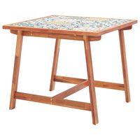 vidaXL Mesa comedor de jardín madera y superficie azulejos 88x88x75 cm