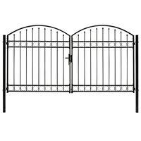 vidaXL Cancela de valla doble puerta con arco acero negro 300x175 cm