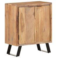 vidaXL Aparador de madera maciza acacia con borde natural 60x36x76 cm