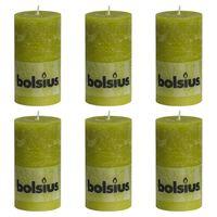 Bolsius Velas rústicas 6 unidades verde musgo 130x68 mm