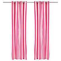 vidaXL Cortinas con aros de metal 2 pzas tela rosa a rayas 140x225 cm