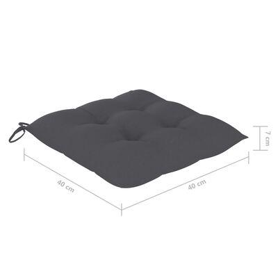 vidaXL Sillas de jardín 8 uds teca maciza con cojines gris antracita