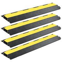 vidaXL Rampas de protección de cable 4 piezas 2 canales goma 101,5 cm