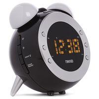 Nikkei Reloj despertador con radio FM y proyector NR280P negro