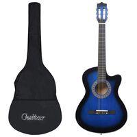 "vidaXL Set guitarra acústica con cutaway 12 pzas 6 cuerdas azul 38"""