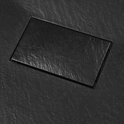 vidaXL Plato de ducha SMC negro 90x70 cm