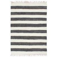 vidaXL Alfombra hecha a mano Chindi algodón antracita blanco 200x290cm