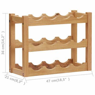 vidaXL Botellero para 12 botellas madera maciza de roble 47x21x36 cm