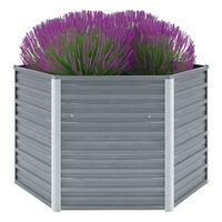 vidaXL Arriate de jardín de acero galvanizado gris 129x129x77 cm