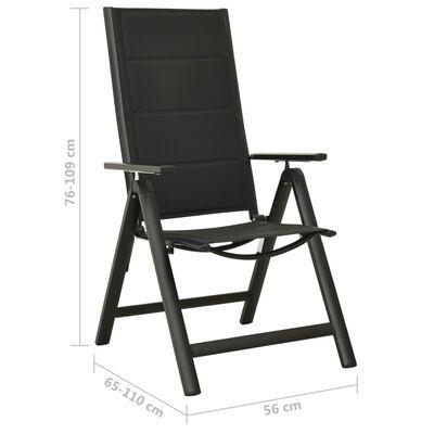 vidaXL Sillas plegables de jardín 2 uds textileno aluminio negro