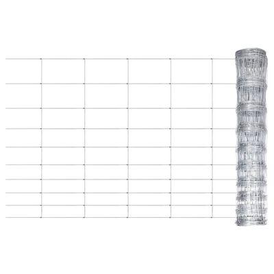 vidaXL Valla de jardín de acero galvanizado plateado 50x1,2 m