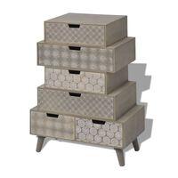 vidaXL Mueble auxiliar con 6 cajones gris