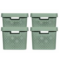Curver Cajas de almacenaje con tapa Infinity 4 piezas verde 11L+17L