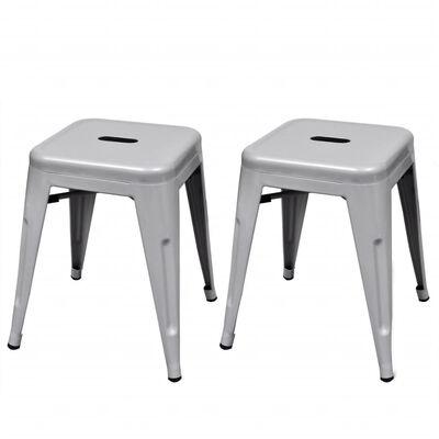 vidaXL Taburetes apilables 2 unidades de metal gris