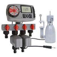 vidaXL Temporizador automático con 4 estaciones sensor de humedad 3 V