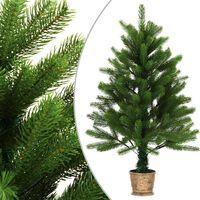 vidaXL Árbol artificial de Navidad con hojas realistas 90 cm verde
