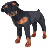vidaXL Perro rottweiler de peluche de pie negro y marrón XXL