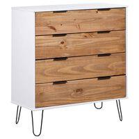 vidaXL Cajonera madera de pino maciza clara y blanca 76,5x39,5x90,3 cm