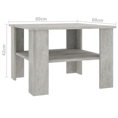 vidaXL Mesa de centro de aglomerado gris hormigón 60x60x42 cm