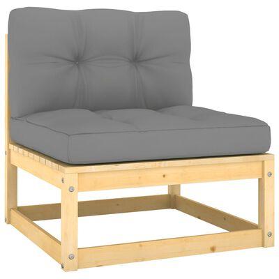 vidaXL Juego de muebles de jardín 7 pzas y cojines madera pino maciza