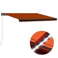 vidaXL Toldo manual retráctil con LED naranja y marrón 450x300 cm