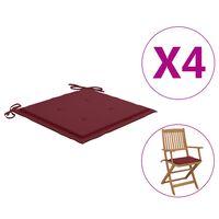 vidaXL Cojines de silla de jardín 4 uds tela rojo tinto 40x40x4 cm