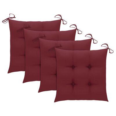 vidaXL Sillas de jardín 4 uds con cojines rojo tinto madera de teca