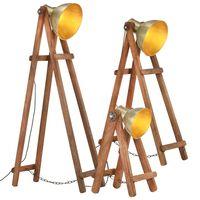 vidaXL Lámpara de pie 3 pzas madera maciza de mango latón E27