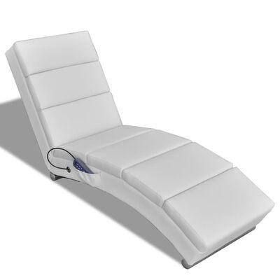 vidaXL Tumbona de masaje reclinable cuero sintético blanco